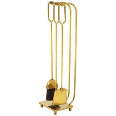 1960s Modernist Brass Fireplace Tools