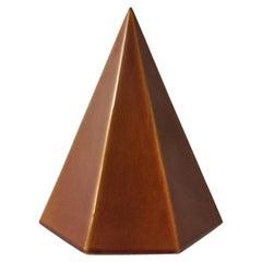 1960s Modernist Ceramic Pyramid with Auburn Glaze