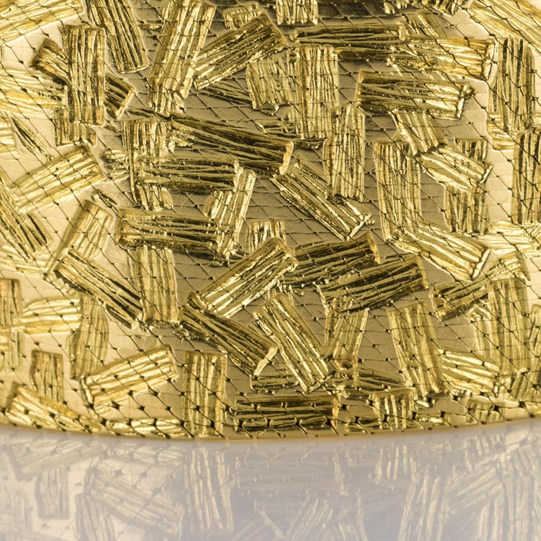 1960s Modernist Decor 18 Karat Yellow Gold Ribbon Bracelet For Sale 5