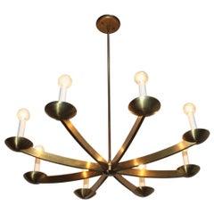 1960s Modernist Italian Brass Chandelier