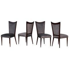 1960s Modernist Italian Walnut Dining Chairs