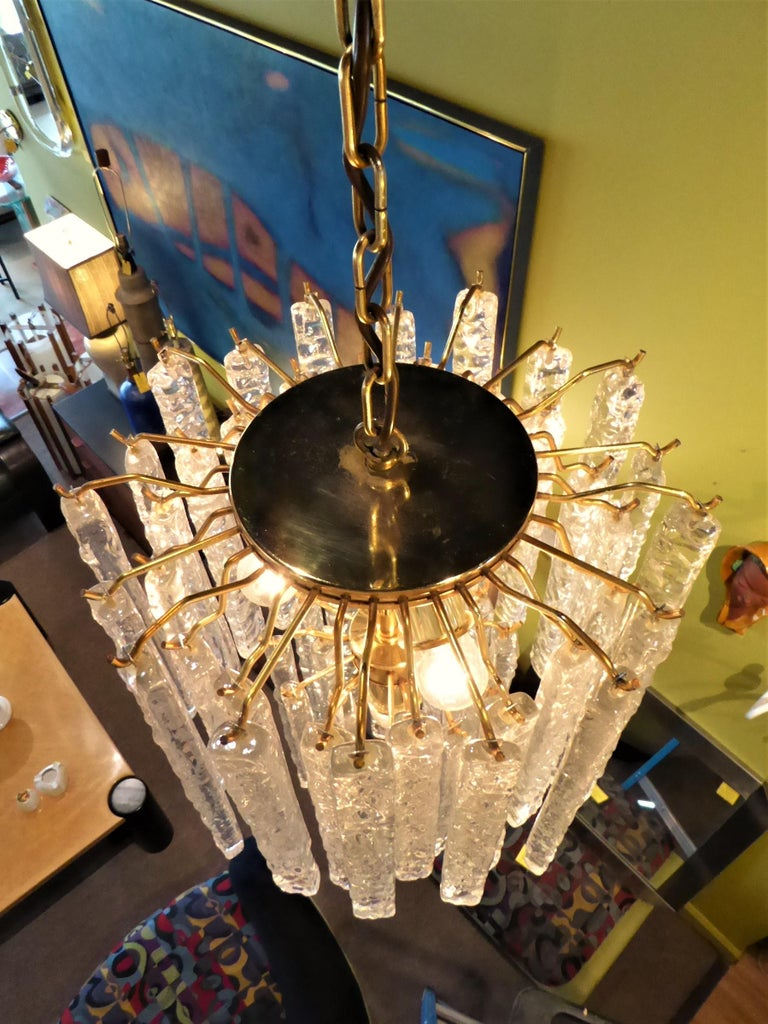 1960s Modernist Mazzega Murano Textured Crystal Chandelier For Sale 5