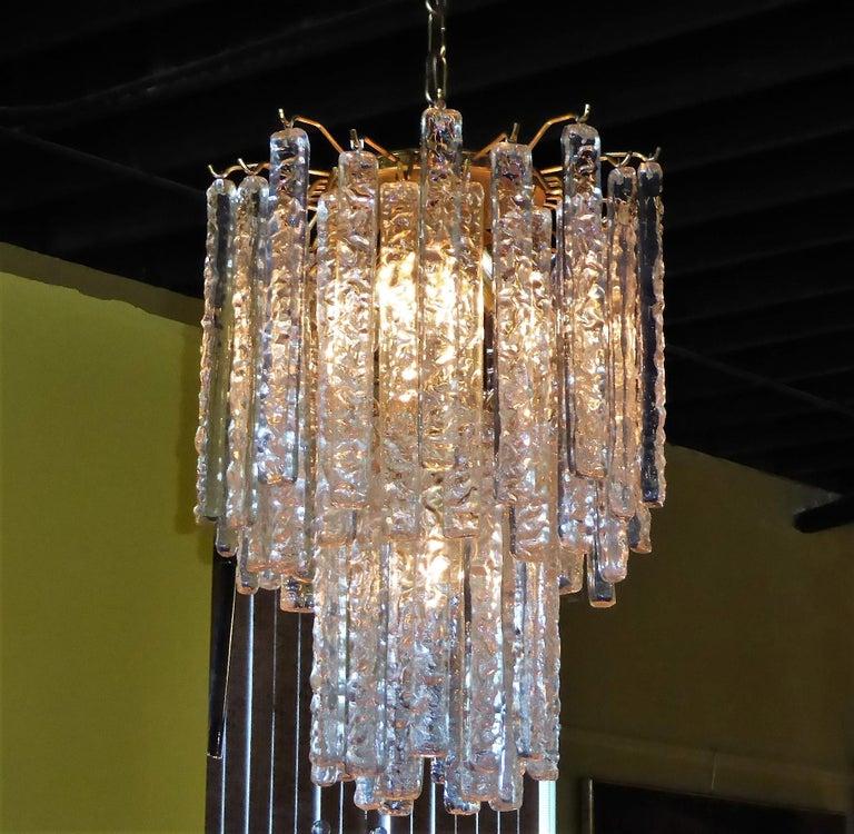 Italian 1960s Modernist Mazzega Murano Textured Crystal Chandelier For Sale