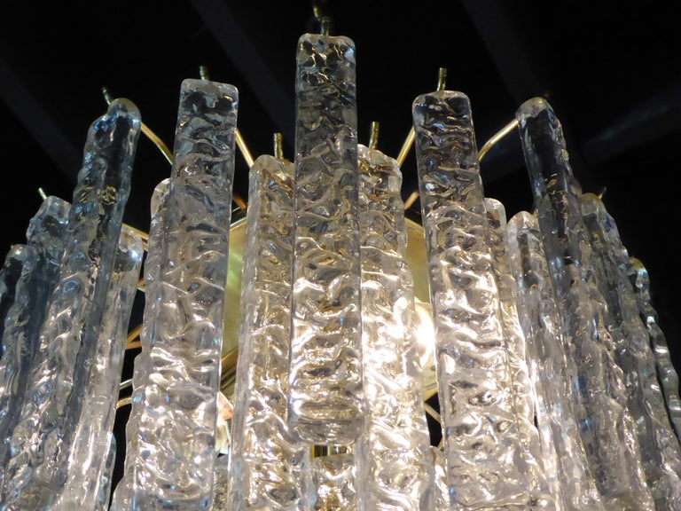 Mid-20th Century 1960s Modernist Mazzega Murano Textured Crystal Chandelier For Sale