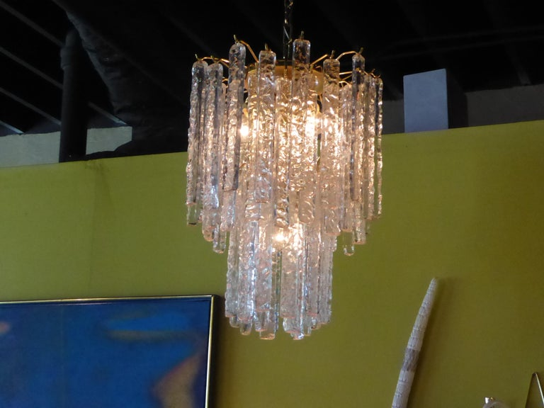 1960s Modernist Mazzega Murano Textured Crystal Chandelier For Sale 2