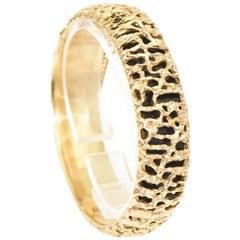 1960s Modernist Open Work Gold Bangle Bracelet with Black Background, Handmade