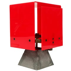 1960s Modernist Red Acrylic Brass Table Lamp Industrial Unusual