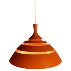 1960s Modernist Space Age Swedish Hans-Agne Jakobsson Orange Hanging Light