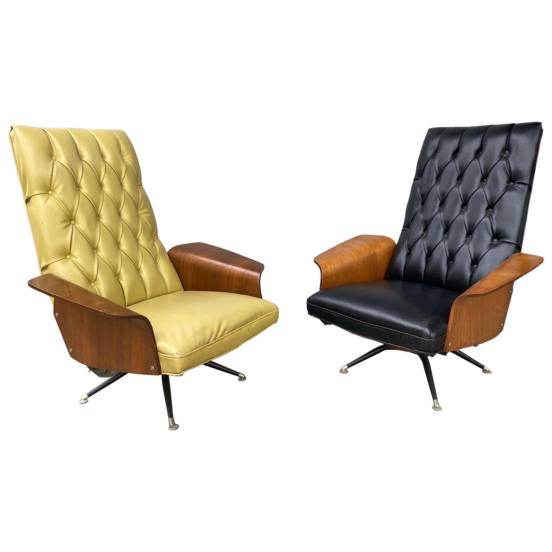 1960s Modernist Tilt / Swivel Lounge Chairs designed by Murphy Miller, Plycraft