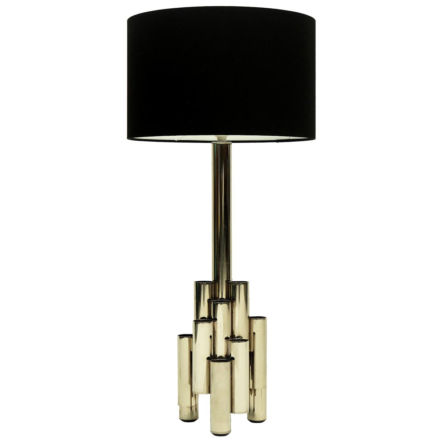 1960s Modernist Tubular Steel Italian Table Lamp in the Style of Gio Ponti