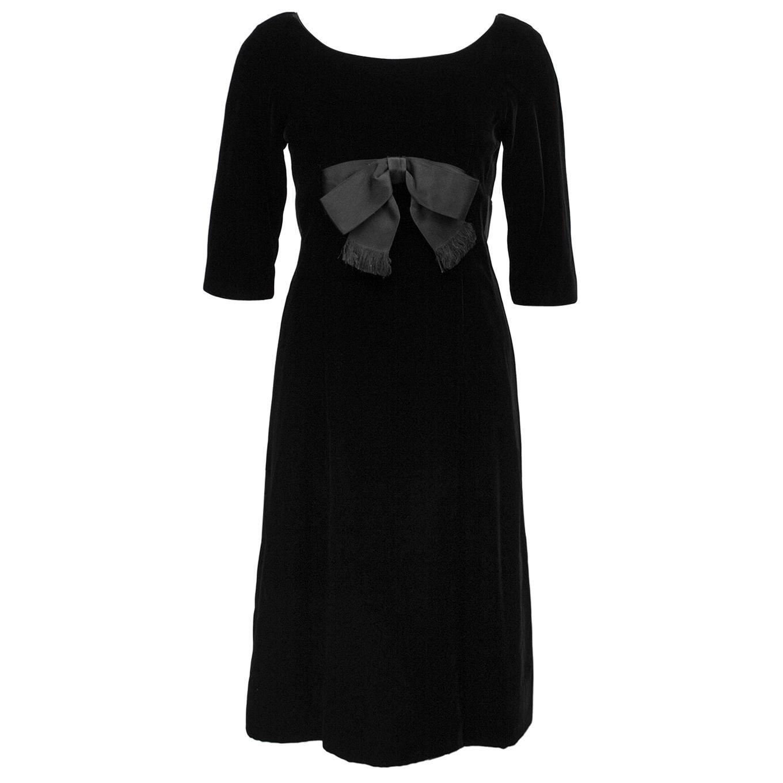 1960's Mollie Parnis Black Velvet Dress w Bow