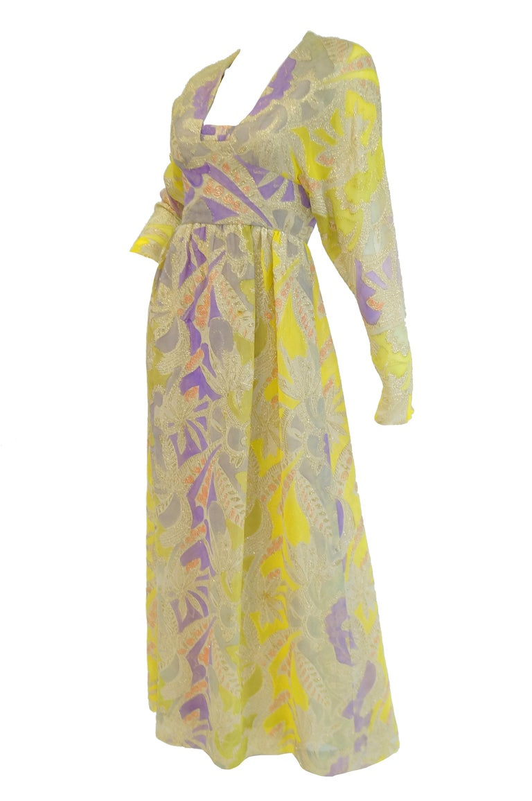 Beige 1960s Mollie Parnis Purple & Yellow Floral Evening Dress with Gold Lame Detail For Sale