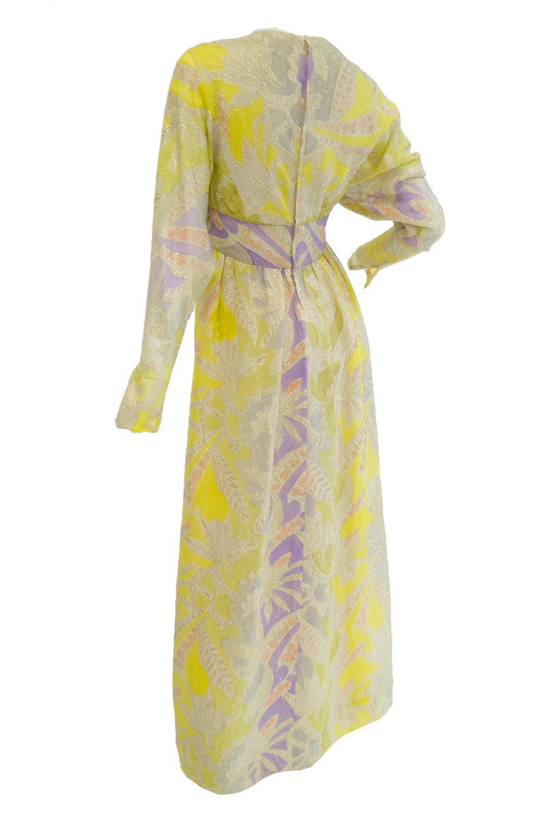 1960s Mollie Parnis Purple & Yellow Floral Evening Dress with Gold Lame Detail In Good Condition For Sale In Houston, TX