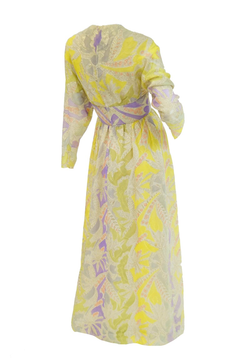 1960s Mollie Parnis Purple & Yellow Floral Evening Dress with Gold Lame Detail For Sale 1