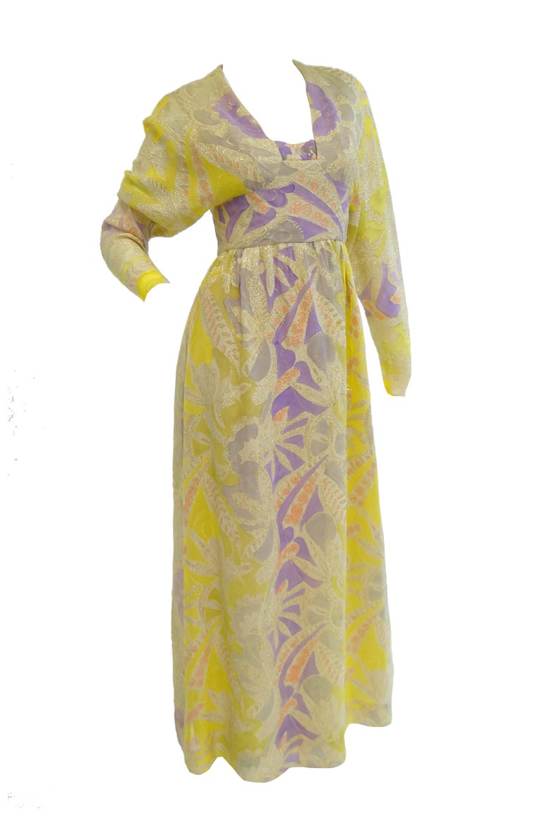 1960s Mollie Parnis Purple & Yellow Floral Evening Dress with Gold Lame Detail For Sale 2