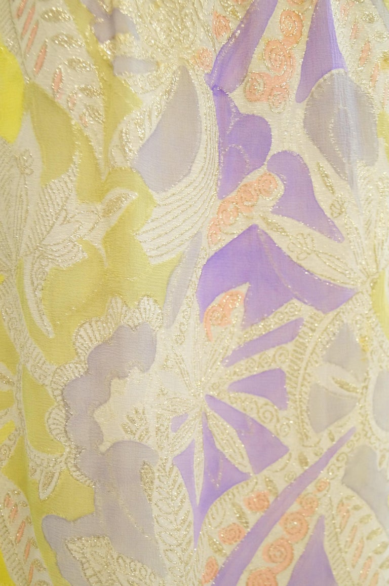 1960s Mollie Parnis Purple & Yellow Floral Evening Dress with Gold Lame Detail For Sale 3