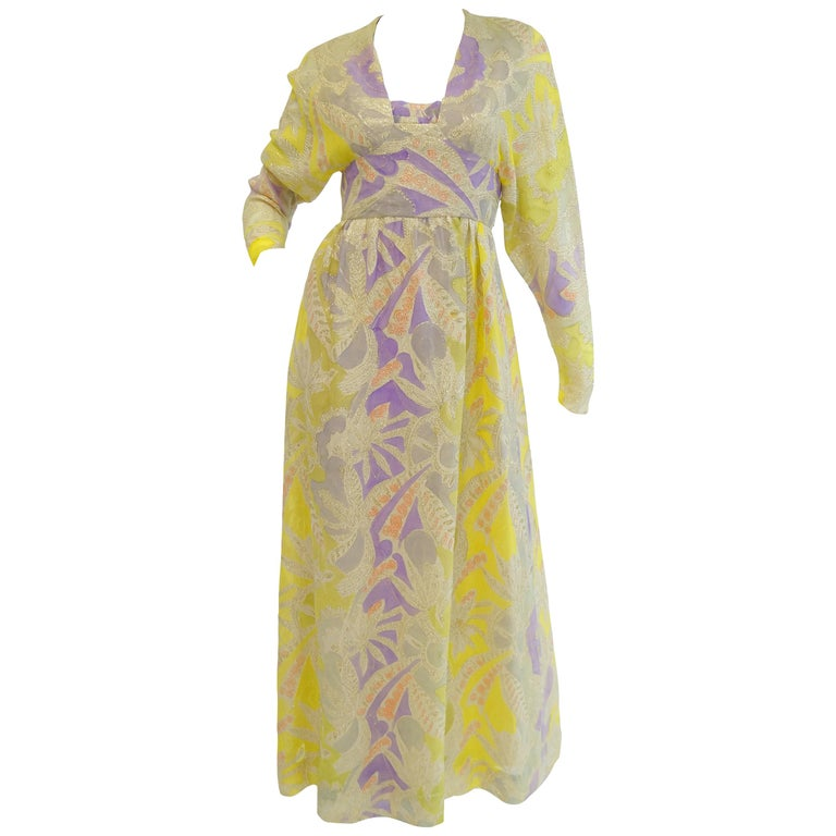 1960s Mollie Parnis Purple & Yellow Floral Evening Dress with Gold Lame Detail For Sale