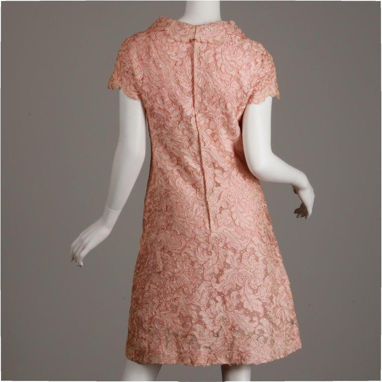 Brown 1960s Mollie Parnis Vintage Pink Soutache + Scalloped Lace Shift Dress Dress For Sale