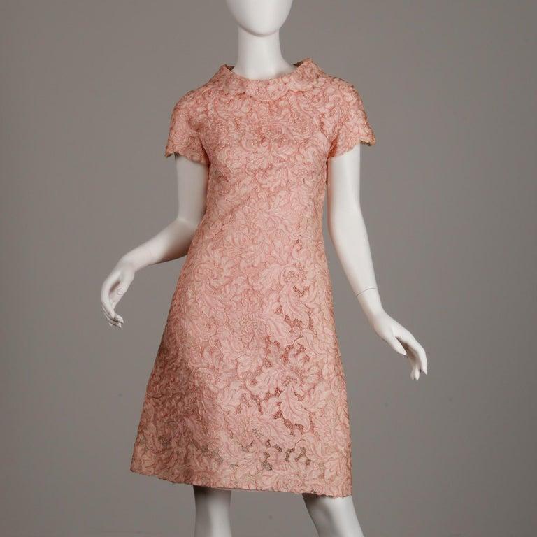 Women's 1960s Mollie Parnis Vintage Pink Soutache + Scalloped Lace Shift Dress Dress For Sale