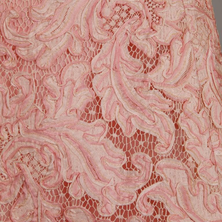 1960s Mollie Parnis Vintage Pink Soutache + Scalloped Lace Shift Dress Dress For Sale 1