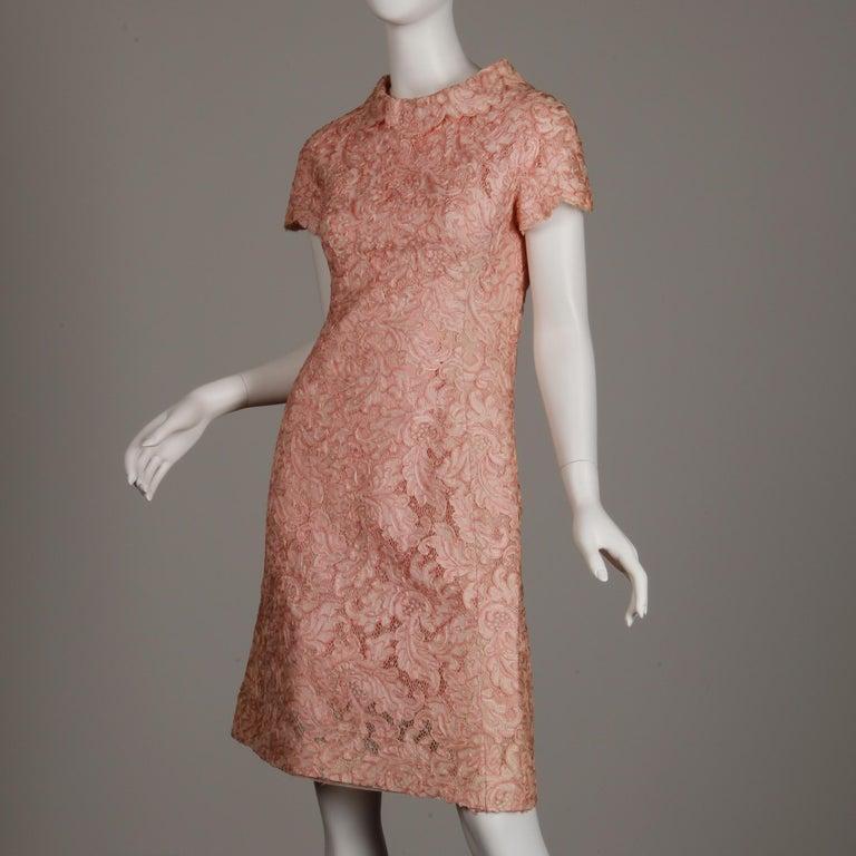 1960s Mollie Parnis Vintage Pink Soutache + Scalloped Lace Shift Dress Dress For Sale 2