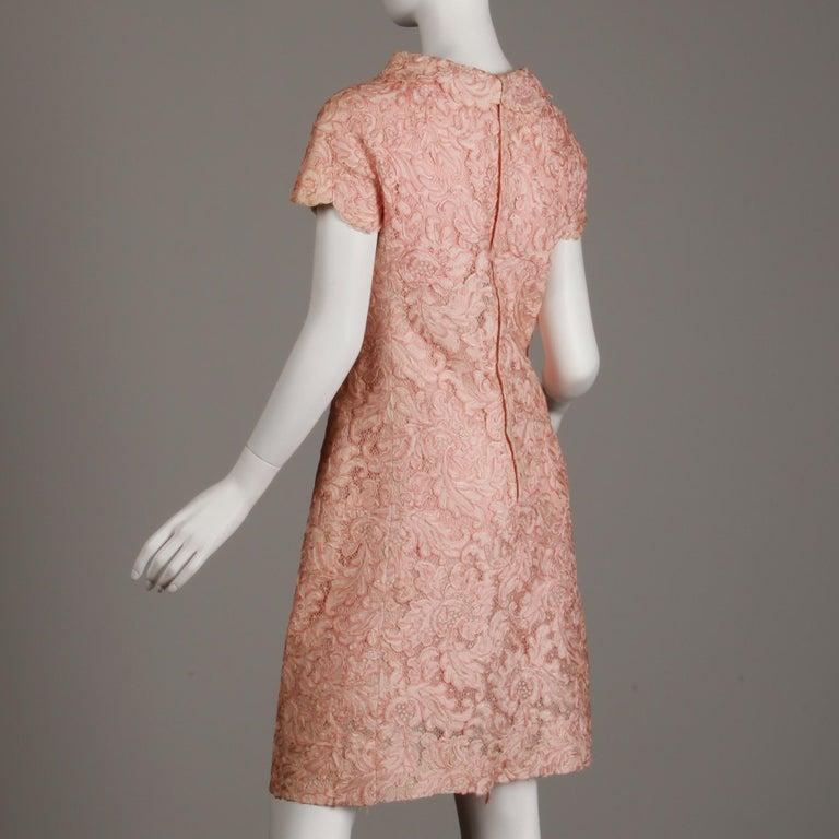 1960s Mollie Parnis Vintage Pink Soutache + Scalloped Lace Shift Dress Dress For Sale 3