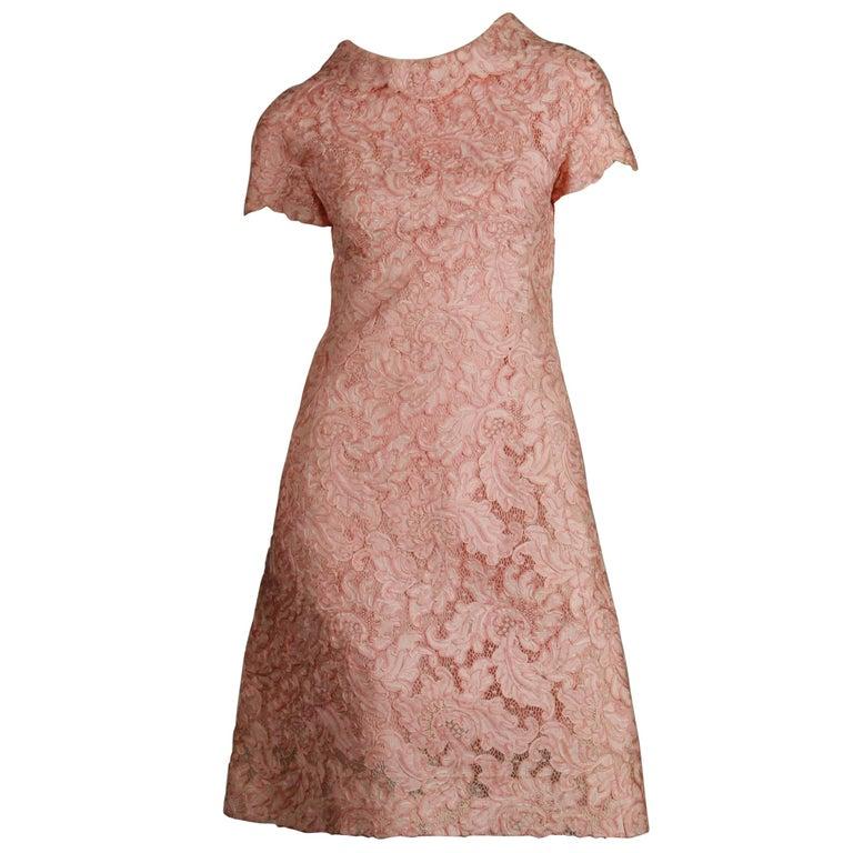 1960s Mollie Parnis Vintage Pink Soutache + Scalloped Lace Shift Dress Dress For Sale