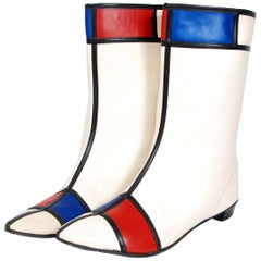 1960's Mondrian Red White Blue Space-Age Mod Vinyl Mid Calf Go-Go Boots