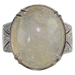 1960s Moonstone Diamond White Gold Ring