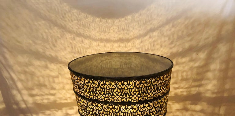 1960s Moroccan All Brass Center or Table lamp or Lighted Table For Sale 10