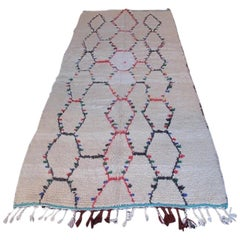 1960s Moroccan Beni Ourain Rug with Red, Blue, and Green Diamond Motif