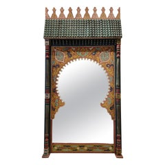1960s Moroccan Hand Carved Wooden Mirror
