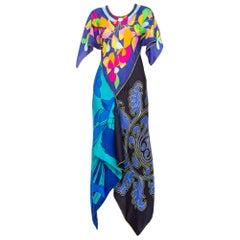 1960s MORPHEW COLLECTION Floral Silk Scarf Bias Cut Kaftan Dress