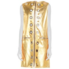 1960S MORPHEW COLLECTION Gold Leather Studded Mod Zipper Dress