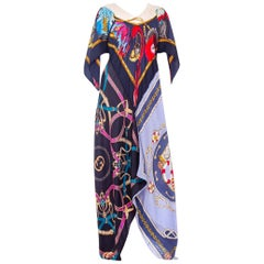 1960s Morphew Status Print Silk Twill Scarf Dress