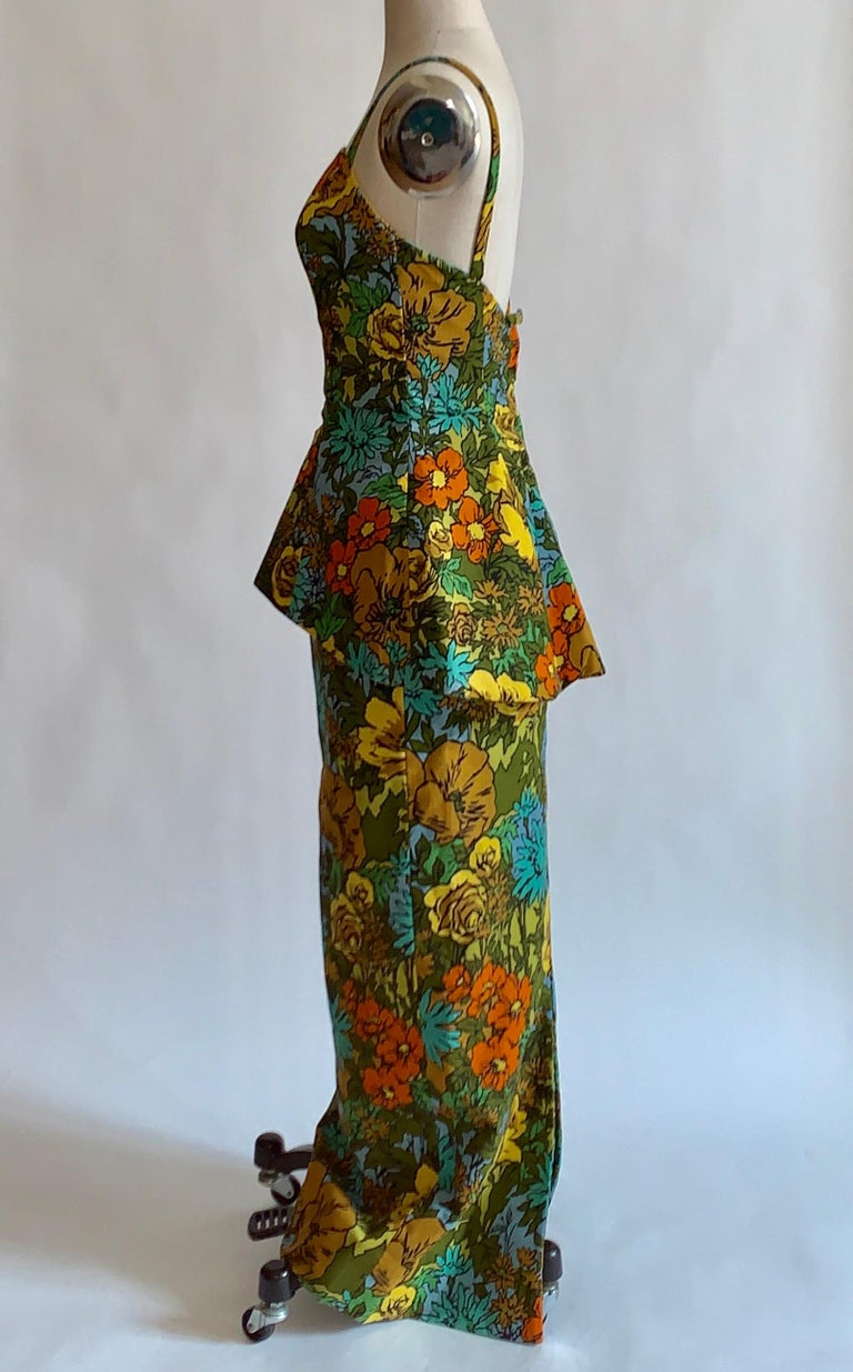 1960s Mr. Blackwell Custom Floral Dress, Yellow, Brown, Green, Blue Peplum Maxi In Excellent Condition For Sale In San Francisco, CA