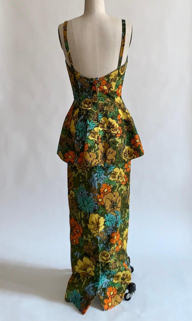 Women's 1960s Mr. Blackwell Custom Floral Dress, Yellow, Brown, Green, Blue Peplum Maxi For Sale
