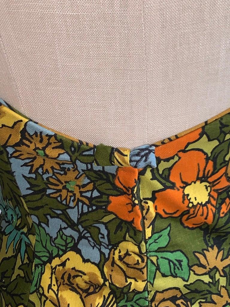 1960s Mr. Blackwell Custom Floral Dress, Yellow, Brown, Green, Blue Peplum Maxi For Sale 1