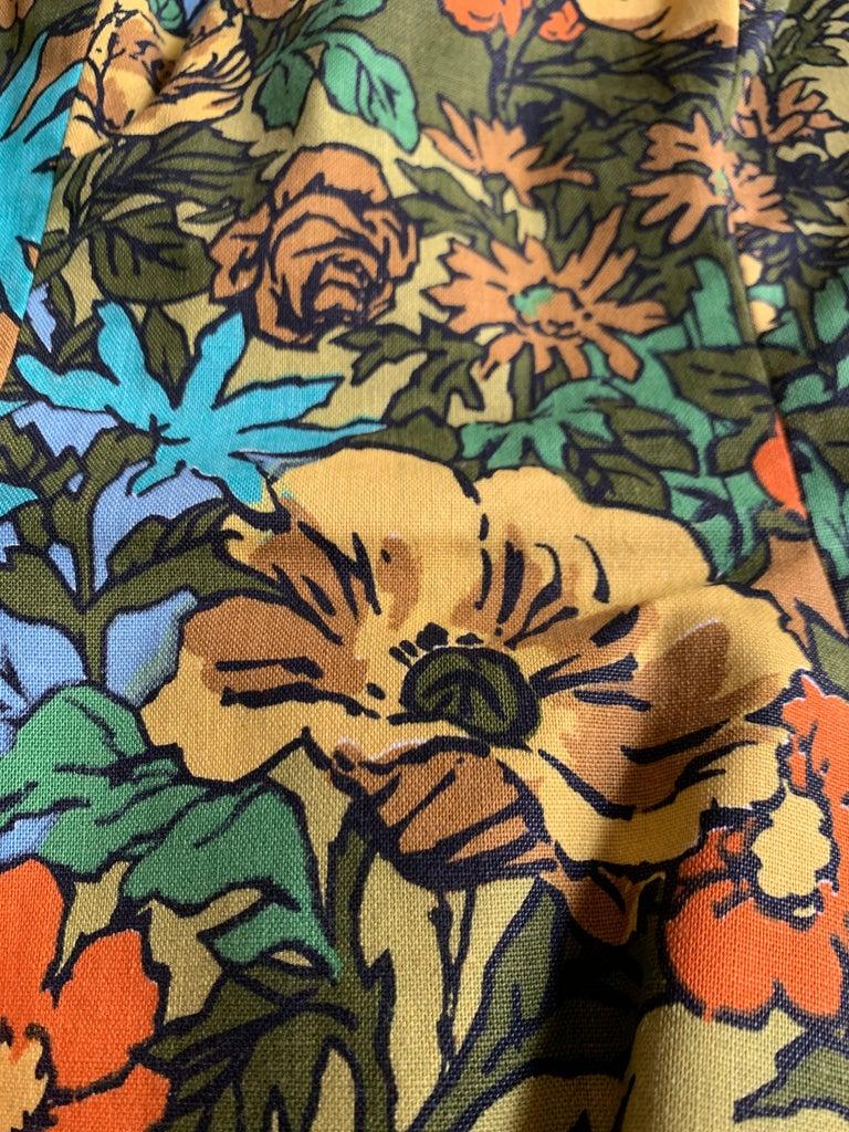 1960s Mr. Blackwell Custom Floral Dress, Yellow, Brown, Green, Blue Peplum Maxi For Sale 2
