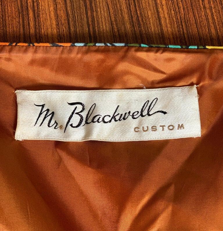 1960s Mr. Blackwell Custom Floral Dress, Yellow, Brown, Green, Blue Peplum Maxi For Sale 3