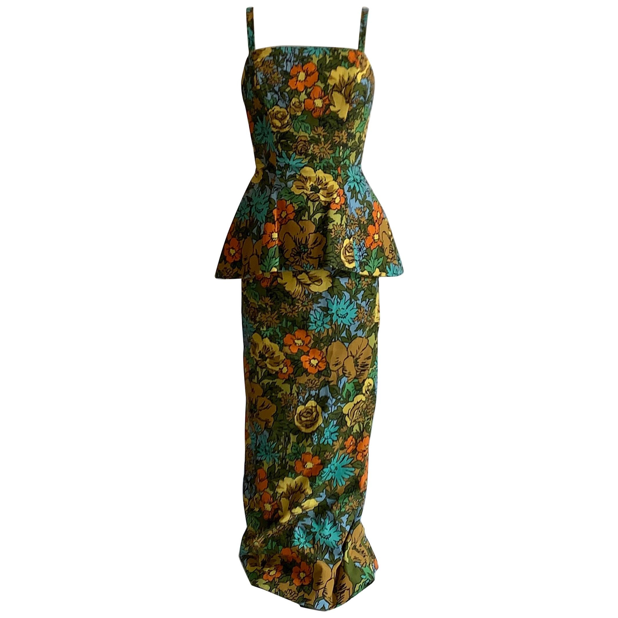 1960s Mr. Blackwell Custom Floral Dress, Yellow, Brown, Green, Blue Peplum Maxi