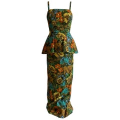 1960s Mr. Blackwell Custom Floral Dress, Yellow, Brown, Green, Blue Peplum Maxi