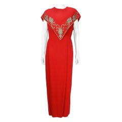 1960s Mr Blackwell Custom Red Crepe Beaded Gown and Cape