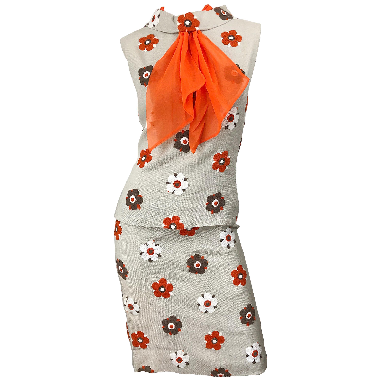 1960s Mr Blackwell Khaki + Orange Linen Embroidered Vintage 60s Shift Dress