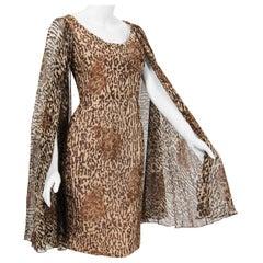 1960's Mr. Blackwell Leopard Print Silk Chiffon Cape-Sleeve Cocktail Dress