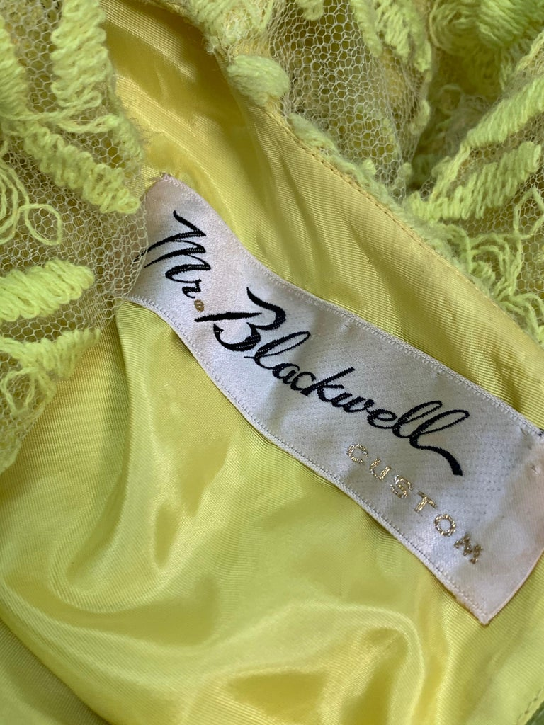 1960s Mr. Blackwell Neon Yellow Wide A-Line Swing Dress in Embroidered Tulle For Sale 6