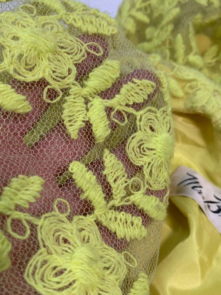 1960s Mr. Blackwell Neon Yellow Wide A-Line Swing Dress in Embroidered Tulle For Sale 7