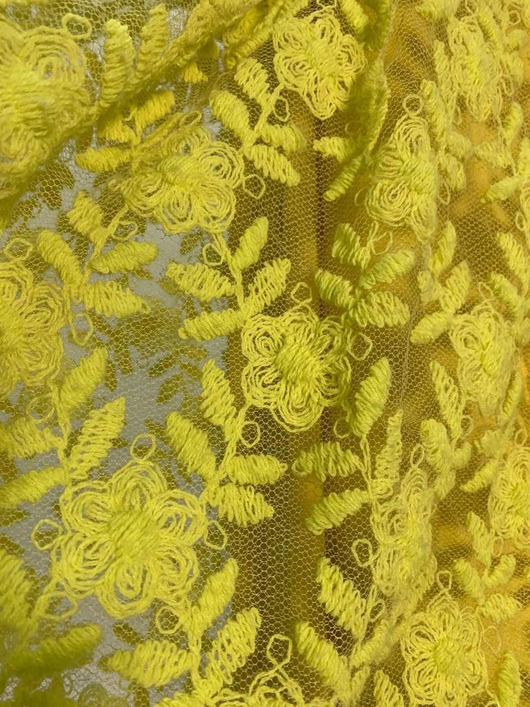 1960s Mr. Blackwell Neon Yellow Wide A-Line Swing Dress in Embroidered Tulle In Excellent Condition For Sale In San Francisco, CA