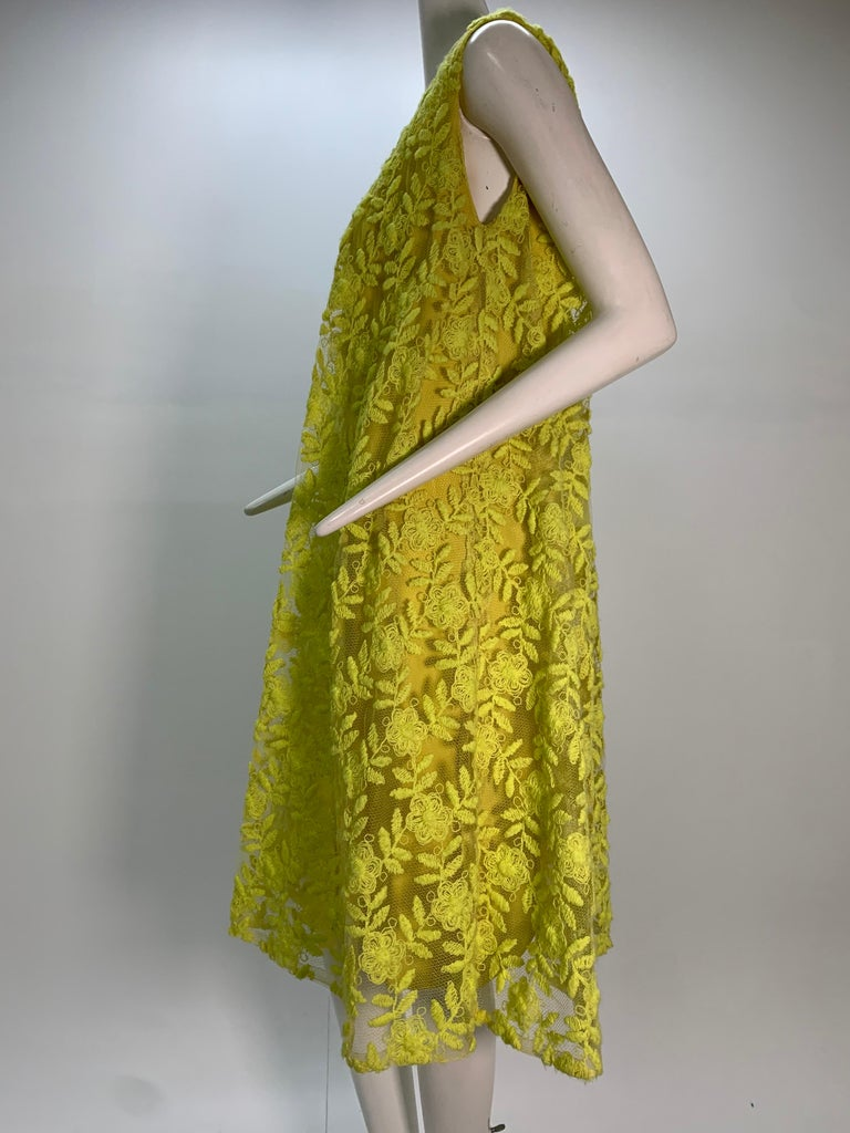 Women's 1960s Mr. Blackwell Neon Yellow Wide A-Line Swing Dress in Embroidered Tulle For Sale