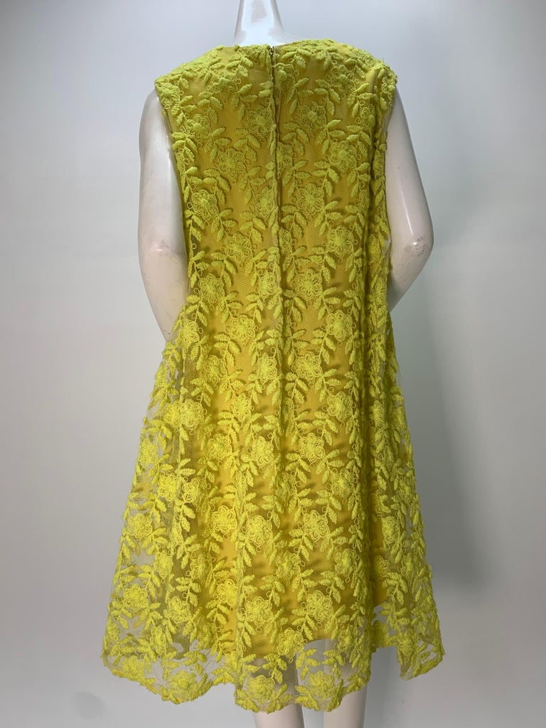 1960s Mr. Blackwell Neon Yellow Wide A-Line Swing Dress in Embroidered Tulle For Sale 1